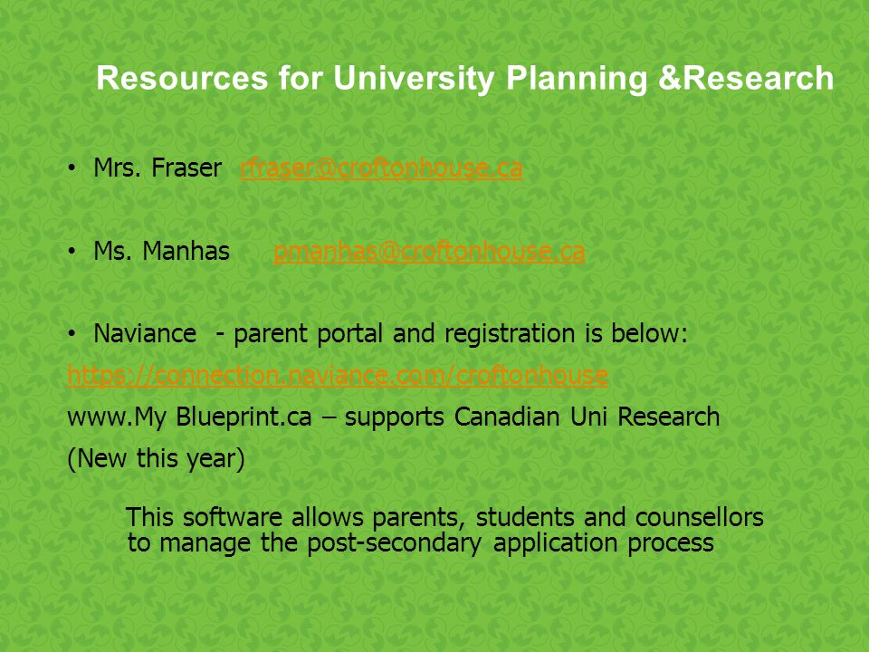 Resources for University Planning &Research