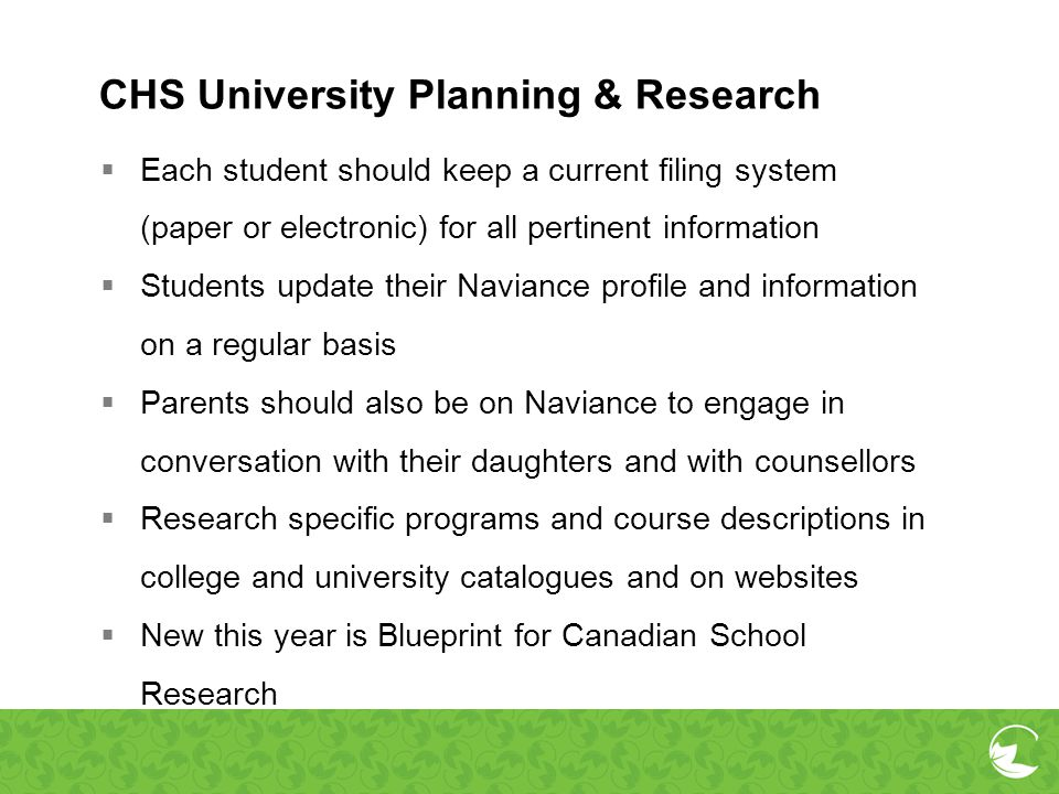 CHS University Planning & Research