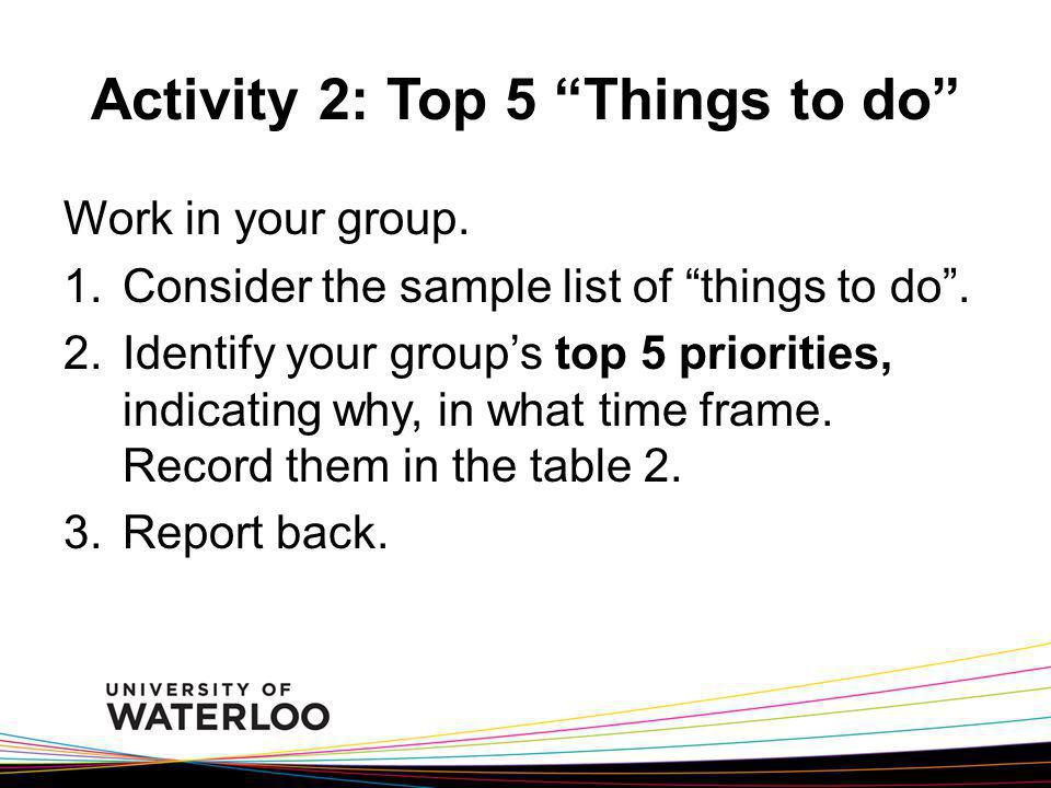Activity 2: Top 5 Things to do
