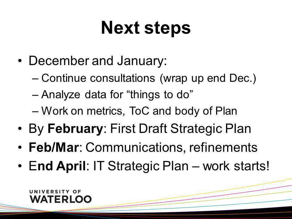 Next steps December and January: