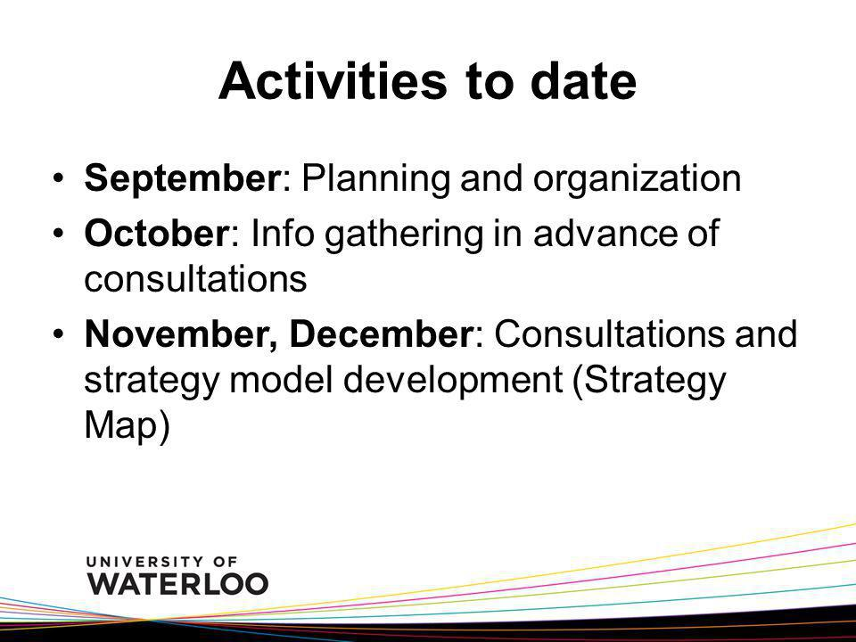 Activities to date September: Planning and organization