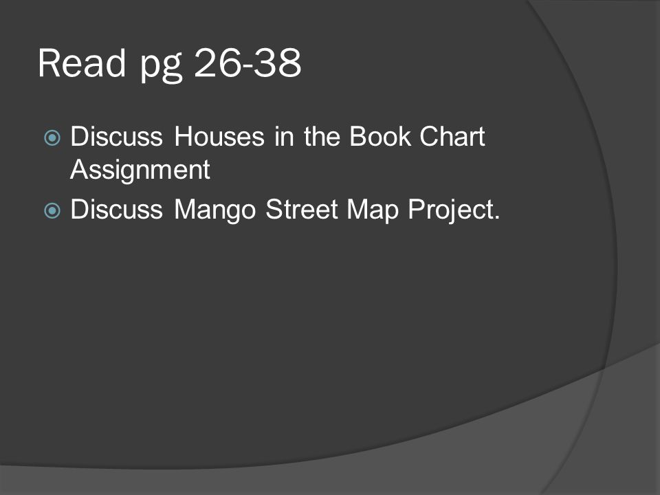 Read pg 26-38 Discuss Houses in the Book Chart Assignment