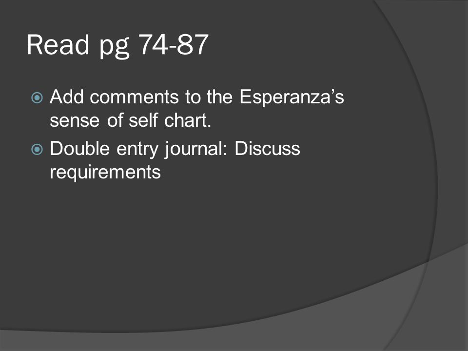 Read pg 74-87 Add comments to the Esperanza's sense of self chart.