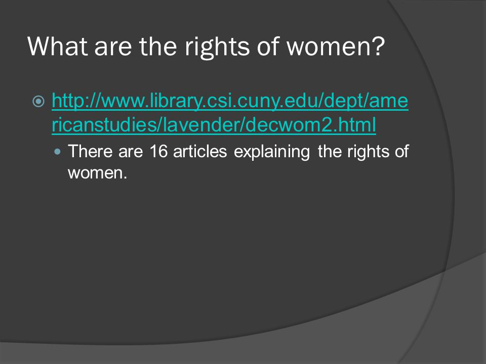 What are the rights of women