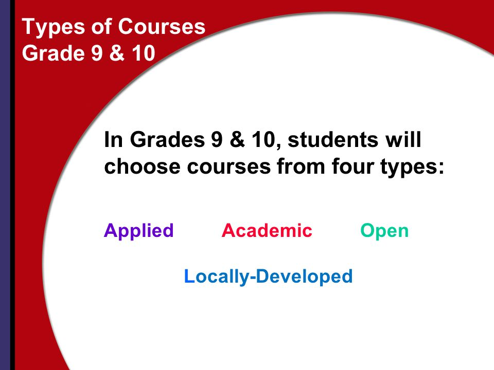Types of Courses Grade 9 & 10
