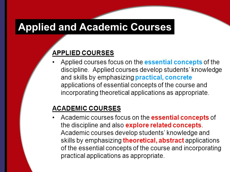 Applied and Academic Courses