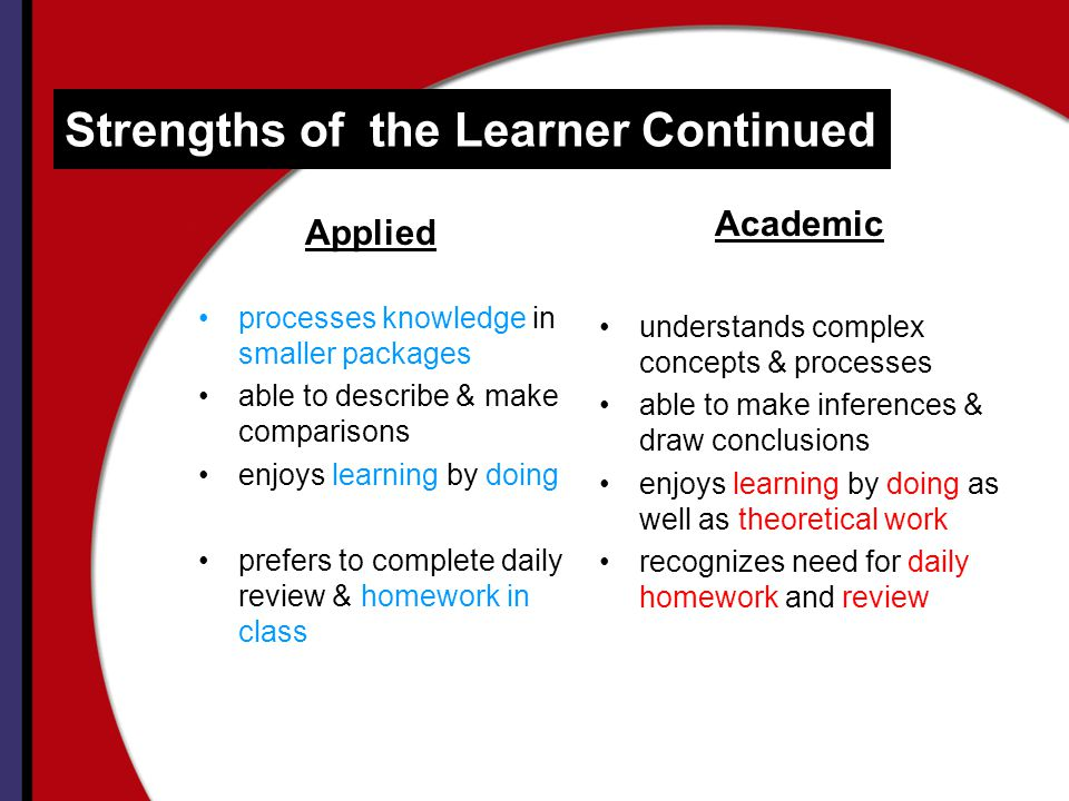 Strengths of the Learner Continued