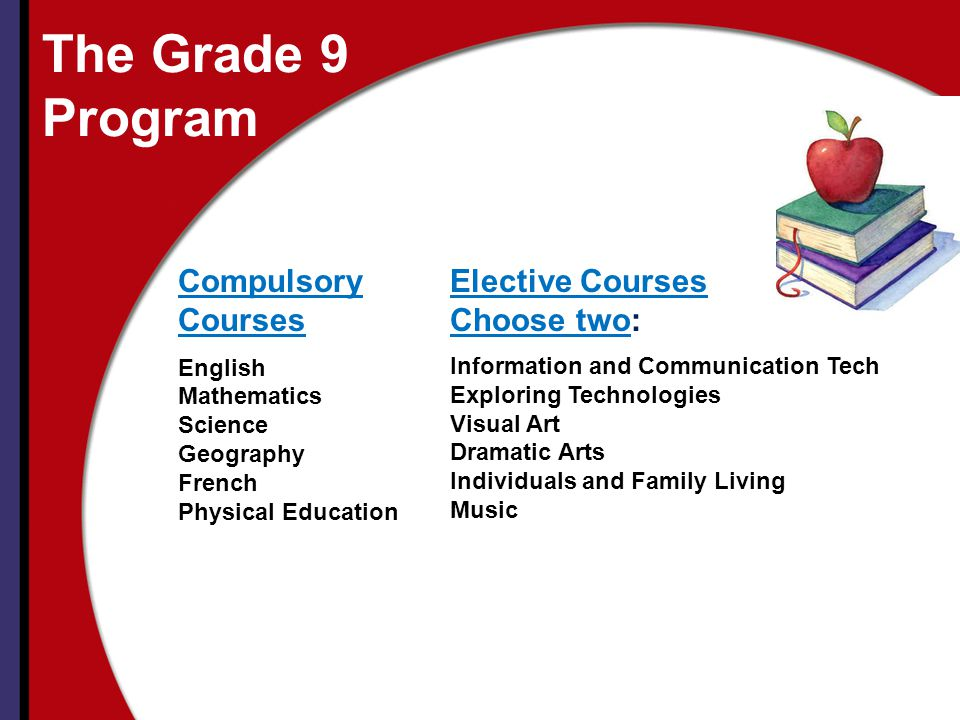 The Grade 9 Program Compulsory Courses Elective Courses Choose two: