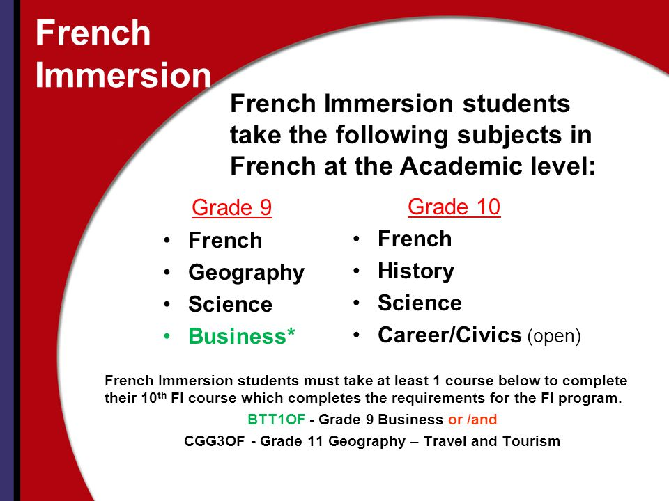 French Immersion French Immersion students take the following subjects in French at the Academic level:
