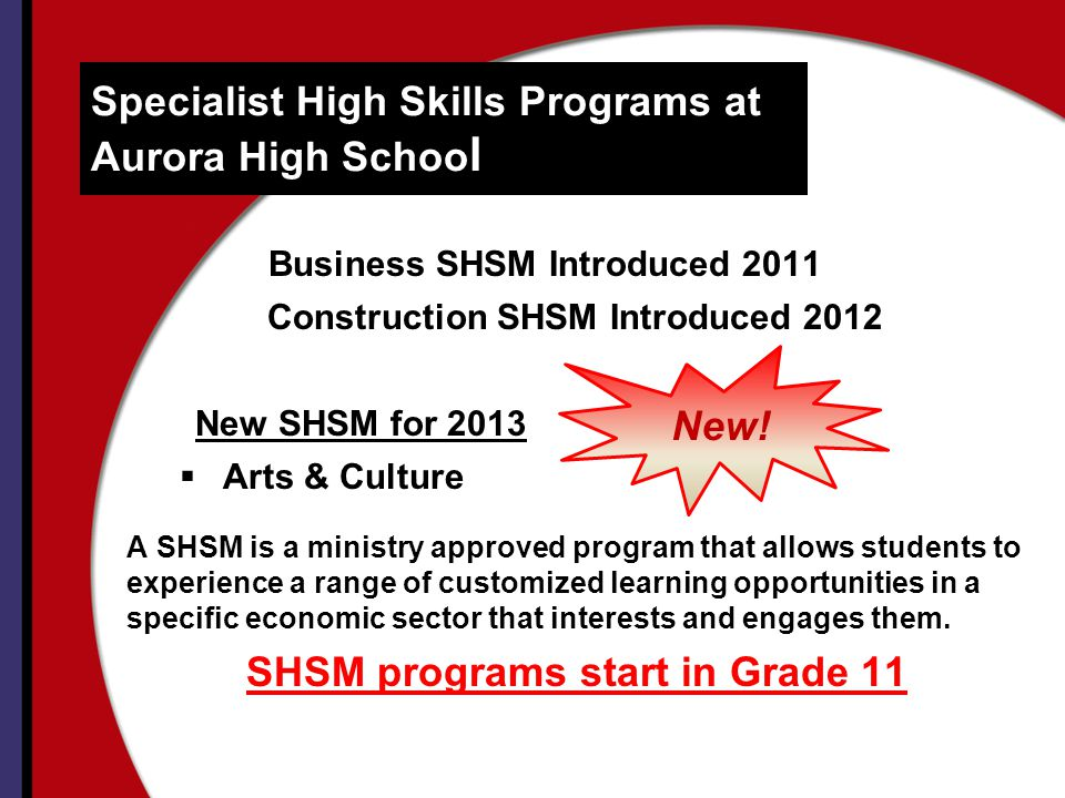 Specialist High Skills Programs at Aurora High School