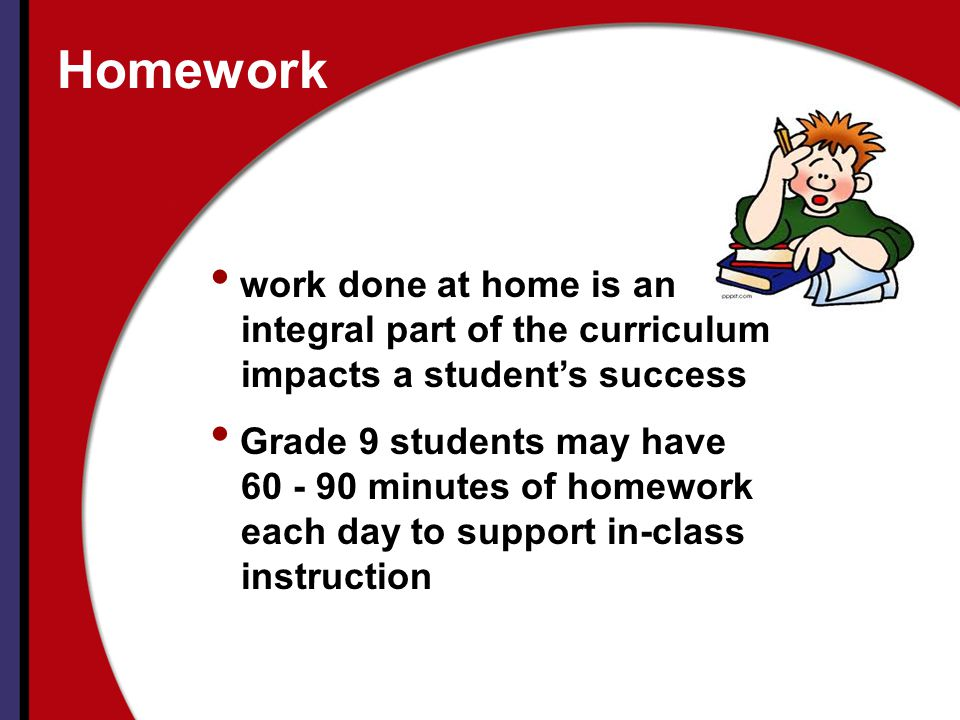 Homework work done at home is an integral part of the curriculum
