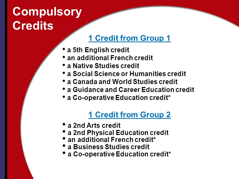 Compulsory Credits 1 Credit from Group 1 1 Credit from Group 2
