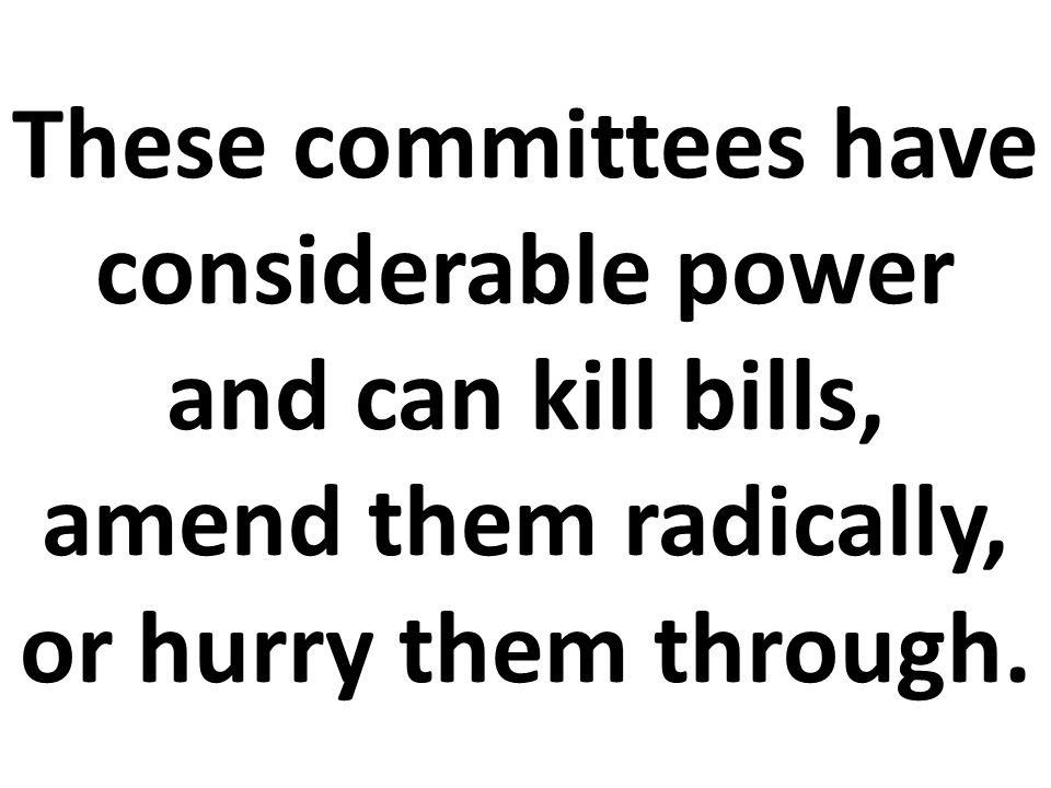 These committees have considerable power and can kill bills, amend them radically, or hurry them through.