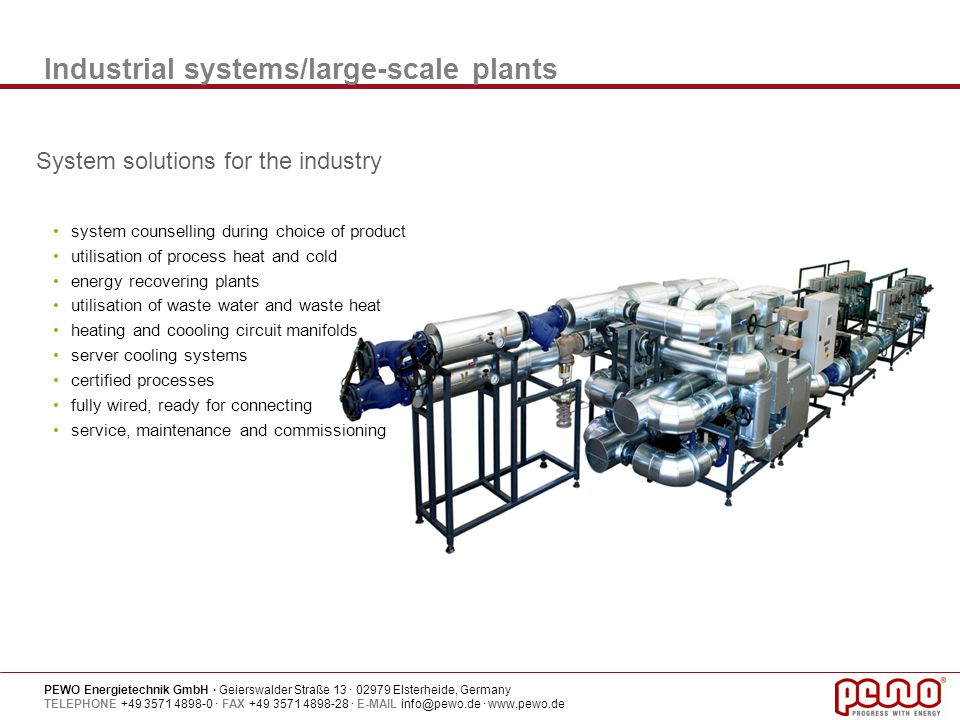 Industrial systems/large-scale plants
