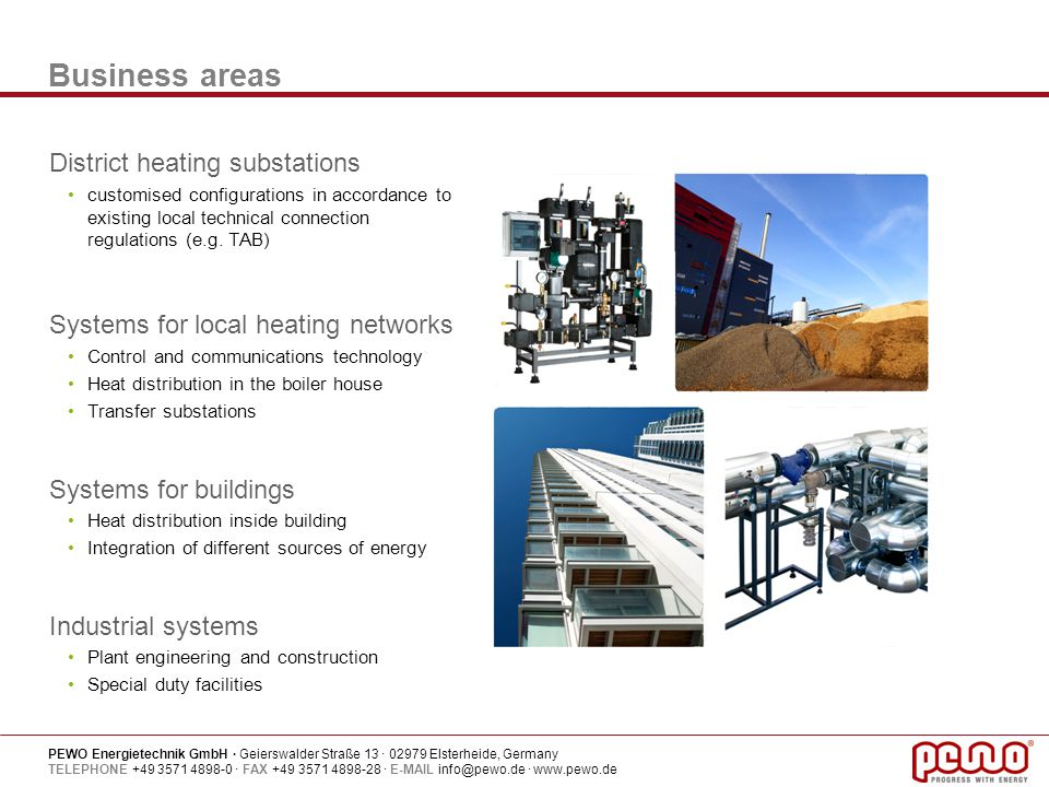 Business areas District heating substations