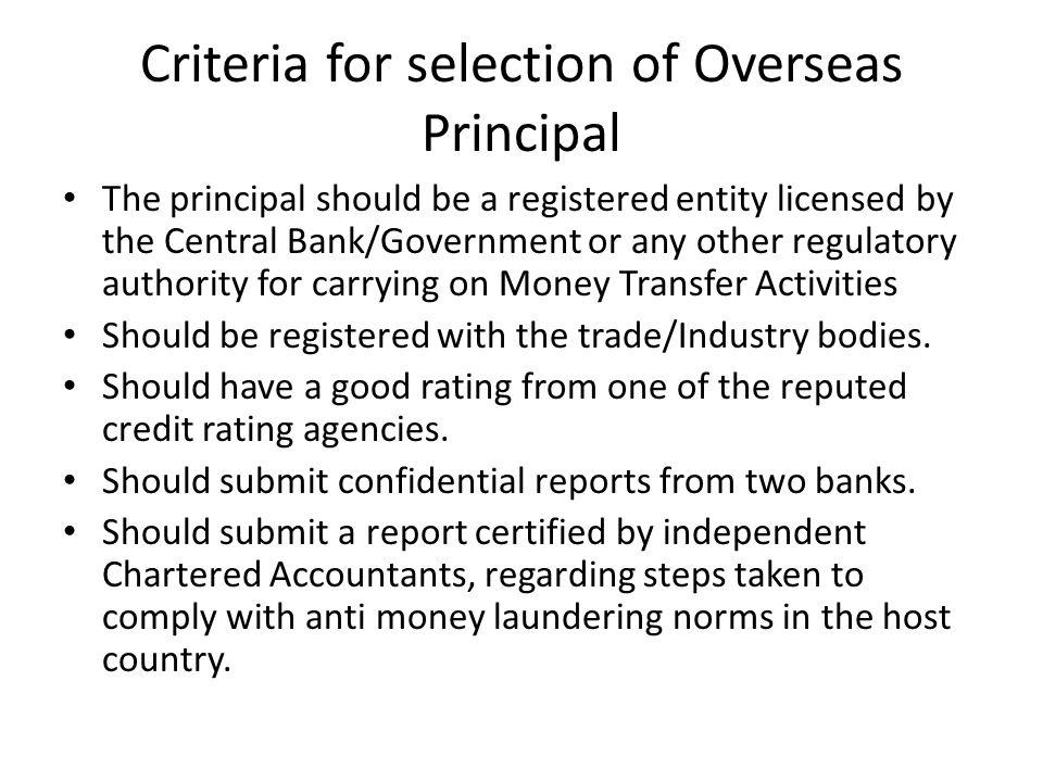 Criteria for selection of Overseas Principal