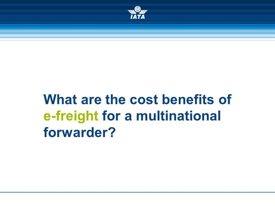 What are the cost benefits of e-freight for a multinational forwarder