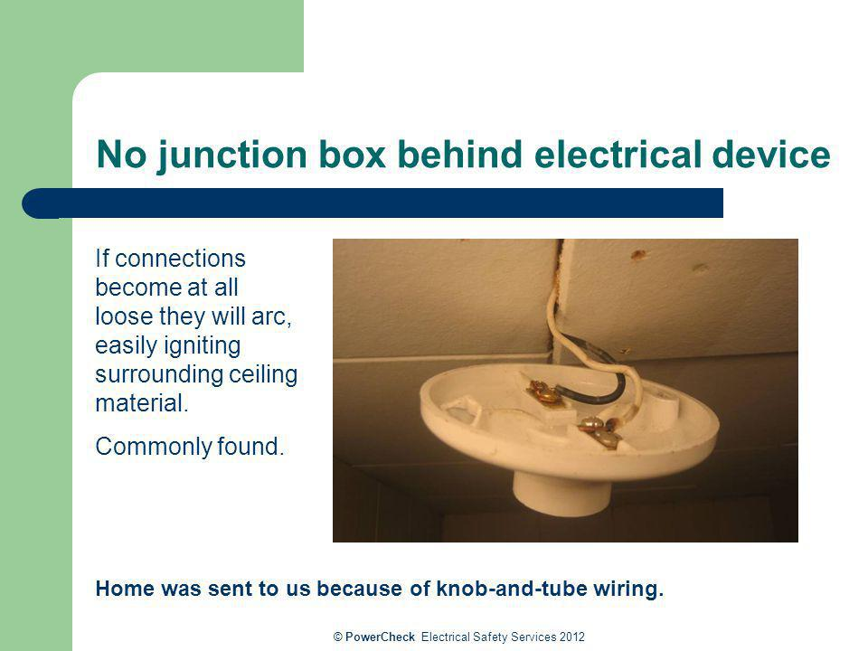 No junction box behind electrical device