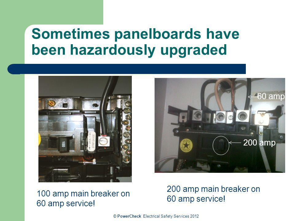 Sometimes panelboards have been hazardously upgraded