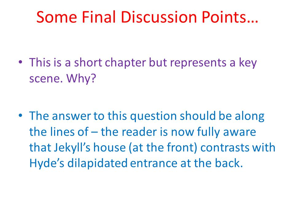 Some Final Discussion Points…