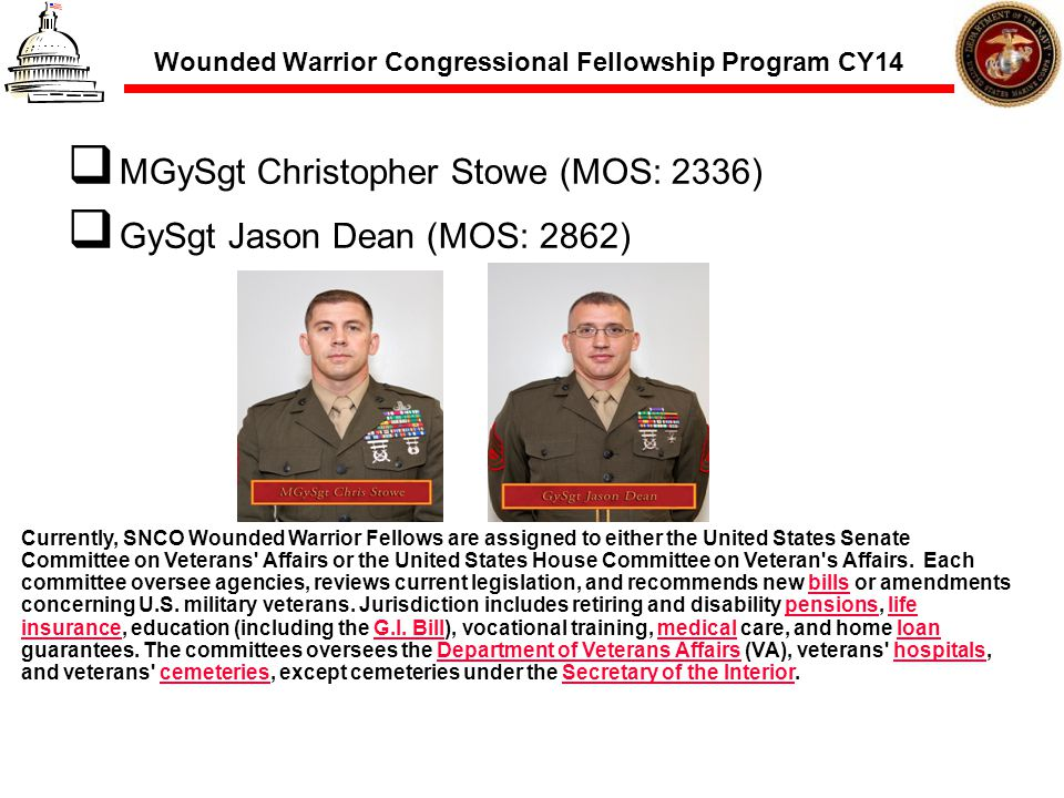Wounded Warrior Congressional Fellowship Program CY14