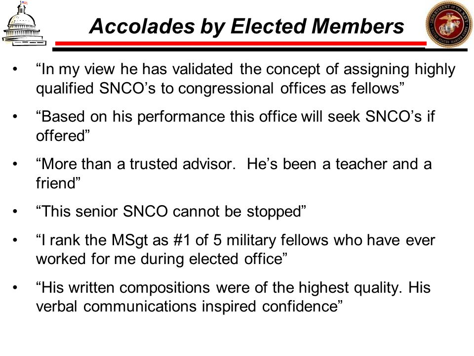 Accolades by Elected Members