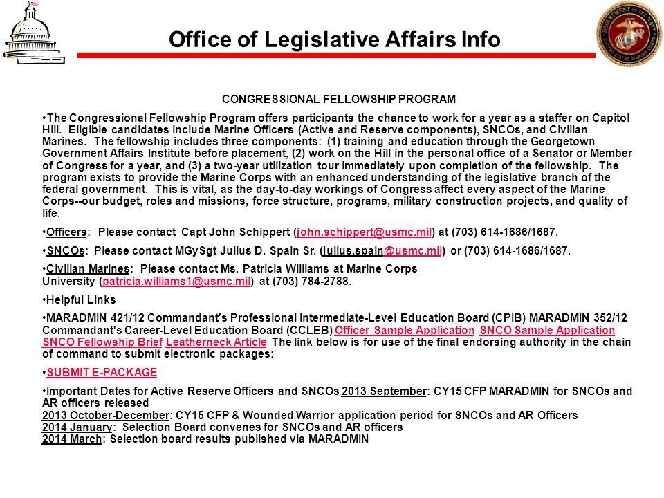 Office of Legislative Affairs Info