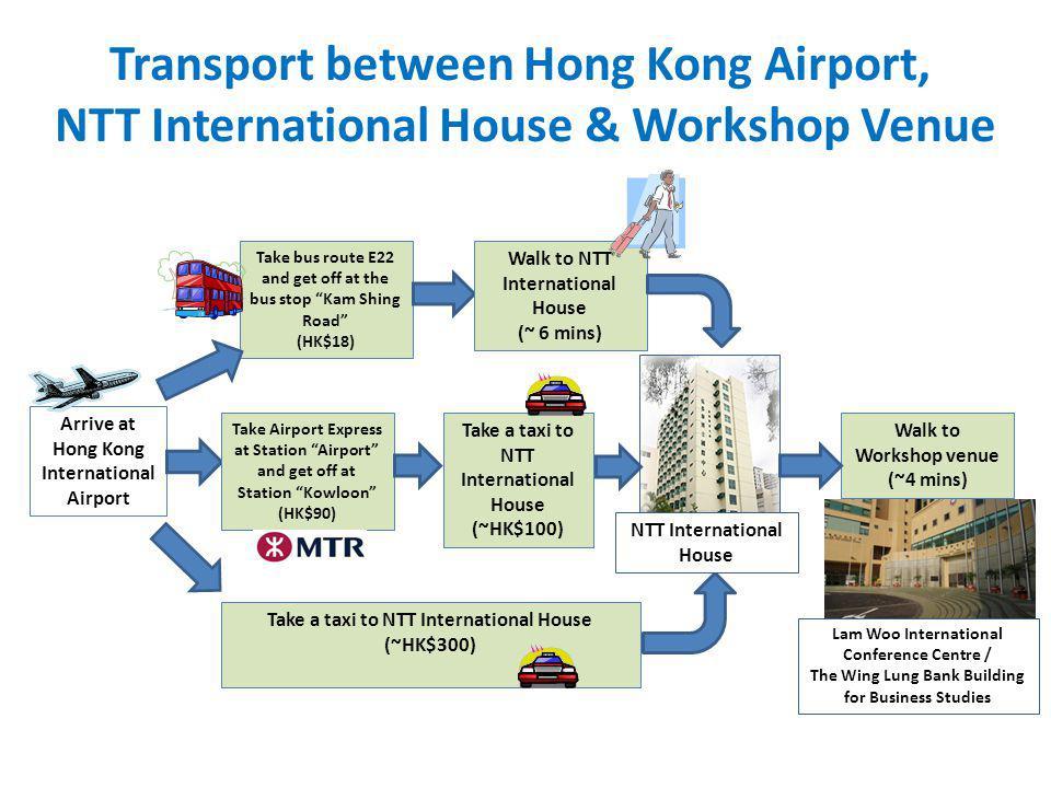 Transport between Hong Kong Airport, NTT International House & Workshop Venue