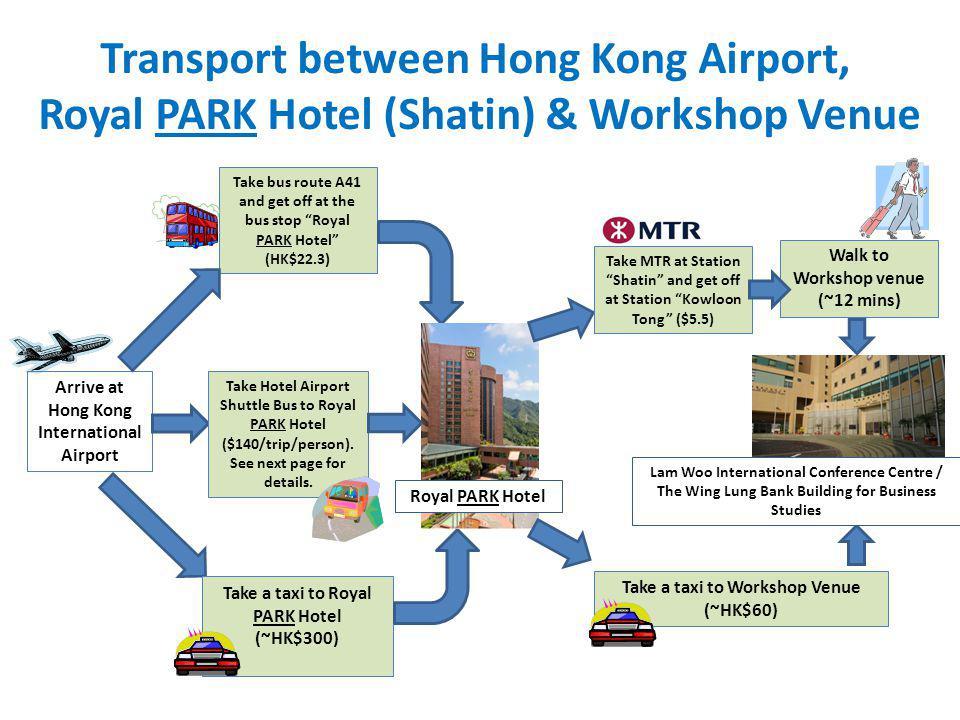 Transport between Hong Kong Airport, Royal PARK Hotel (Shatin) & Workshop Venue