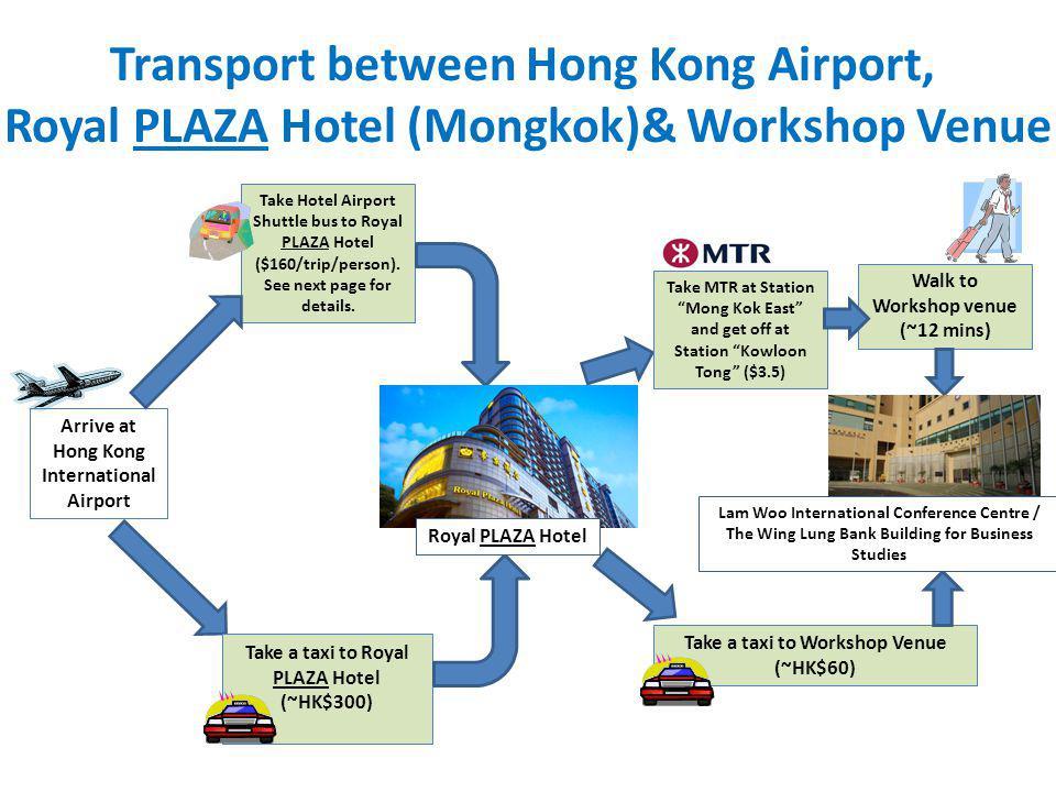 Transport between Hong Kong Airport, Royal PLAZA Hotel (Mongkok)& Workshop Venue