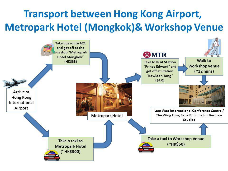 Transport between Hong Kong Airport, Metropark Hotel (Mongkok)& Workshop Venue