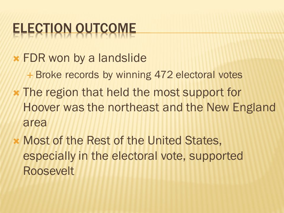 Election outcome FDR won by a landslide