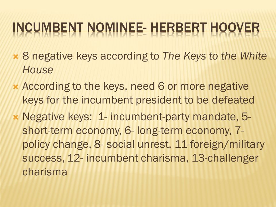 Incumbent nominee- Herbert Hoover