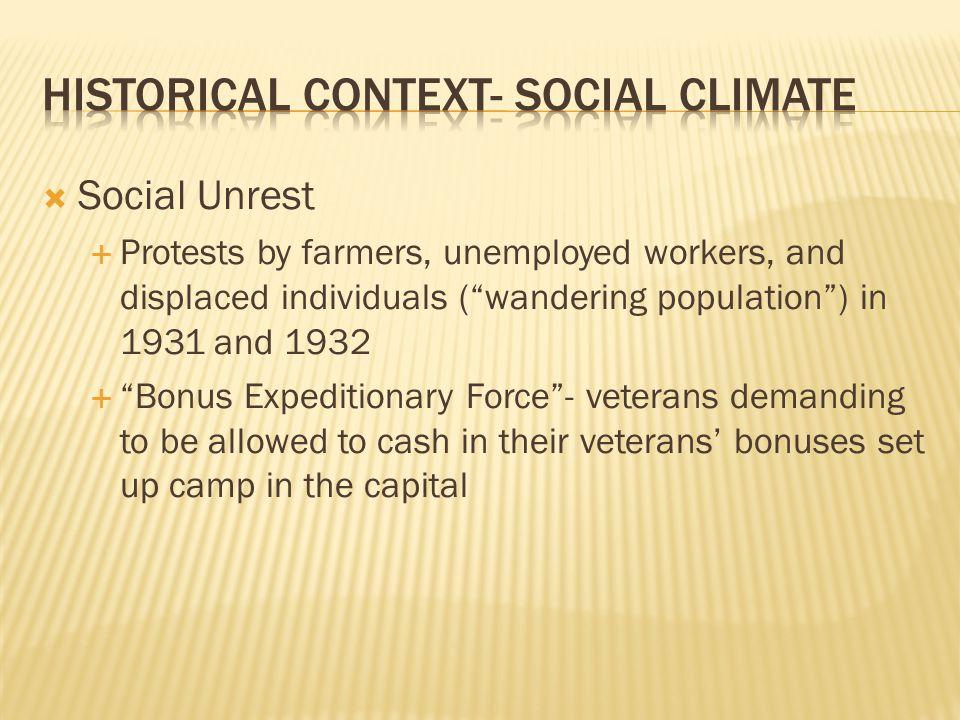 Historical context- Social climate