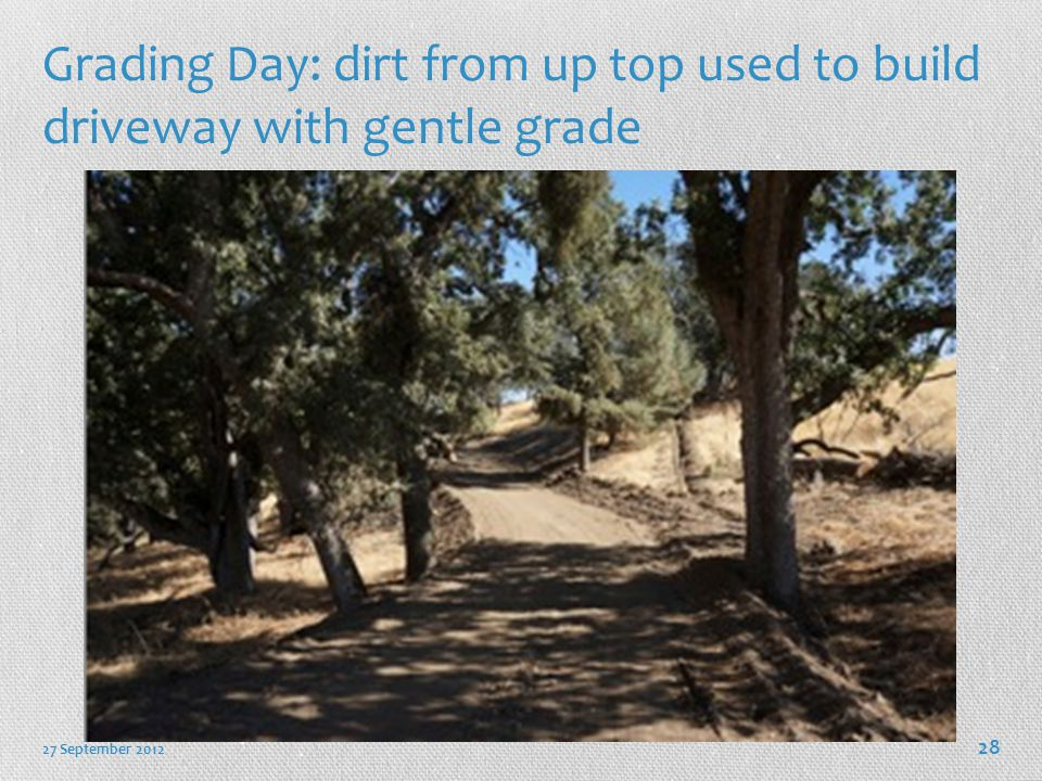 Grading Day: dirt from up top used to build driveway with gentle grade