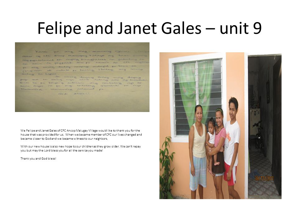 Felipe and Janet Gales – unit 9