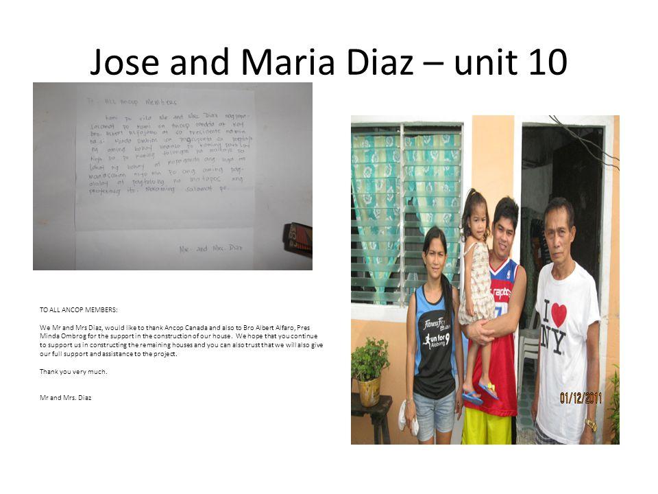 Jose and Maria Diaz – unit 10