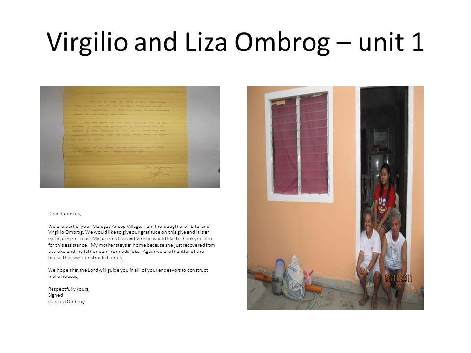 Virgilio and Liza Ombrog – unit 1