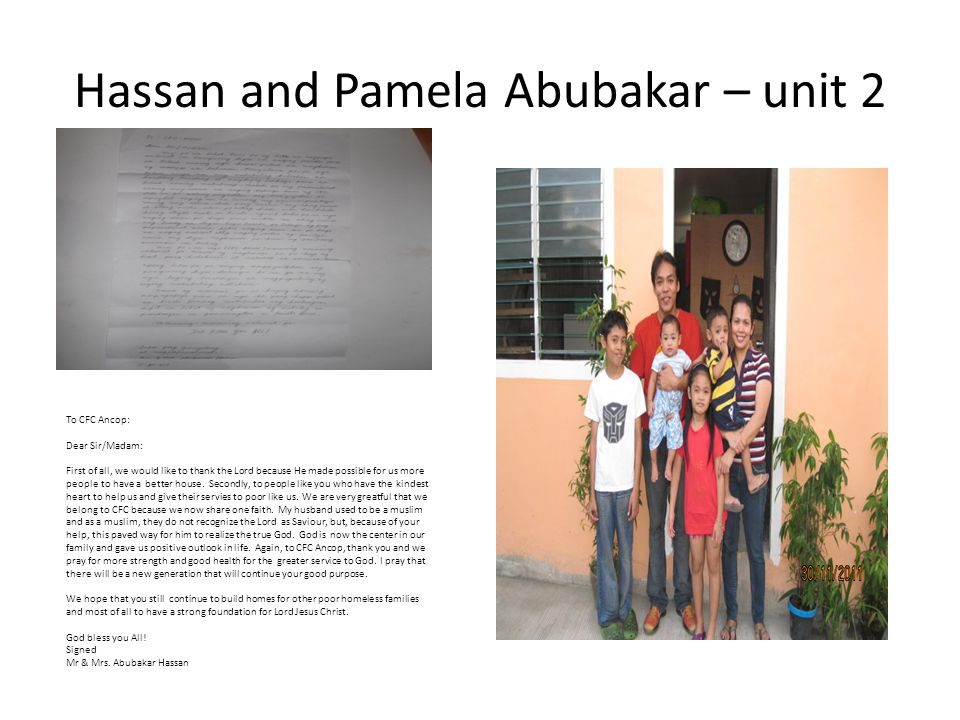 Hassan and Pamela Abubakar – unit 2