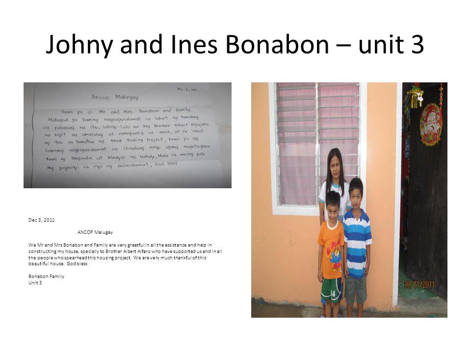 Johny and Ines Bonabon – unit 3