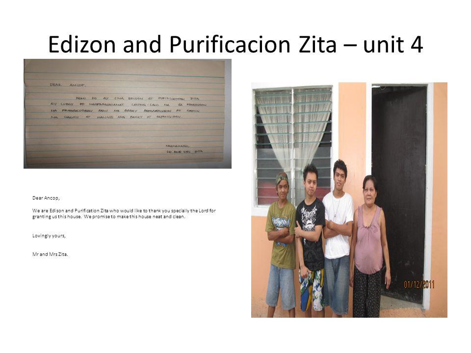 Edizon and Purificacion Zita – unit 4