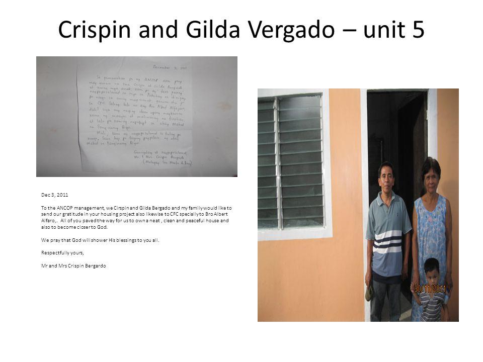 Crispin and Gilda Vergado – unit 5