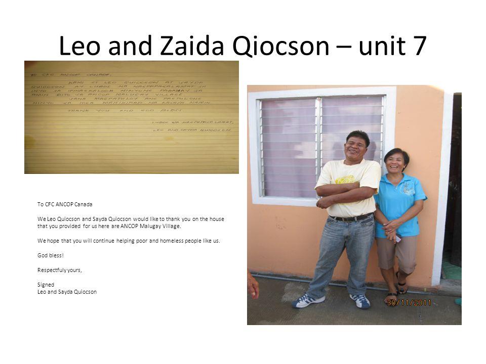 Leo and Zaida Qiocson – unit 7