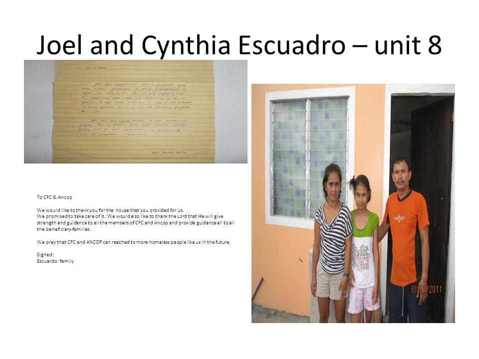 Joel and Cynthia Escuadro – unit 8