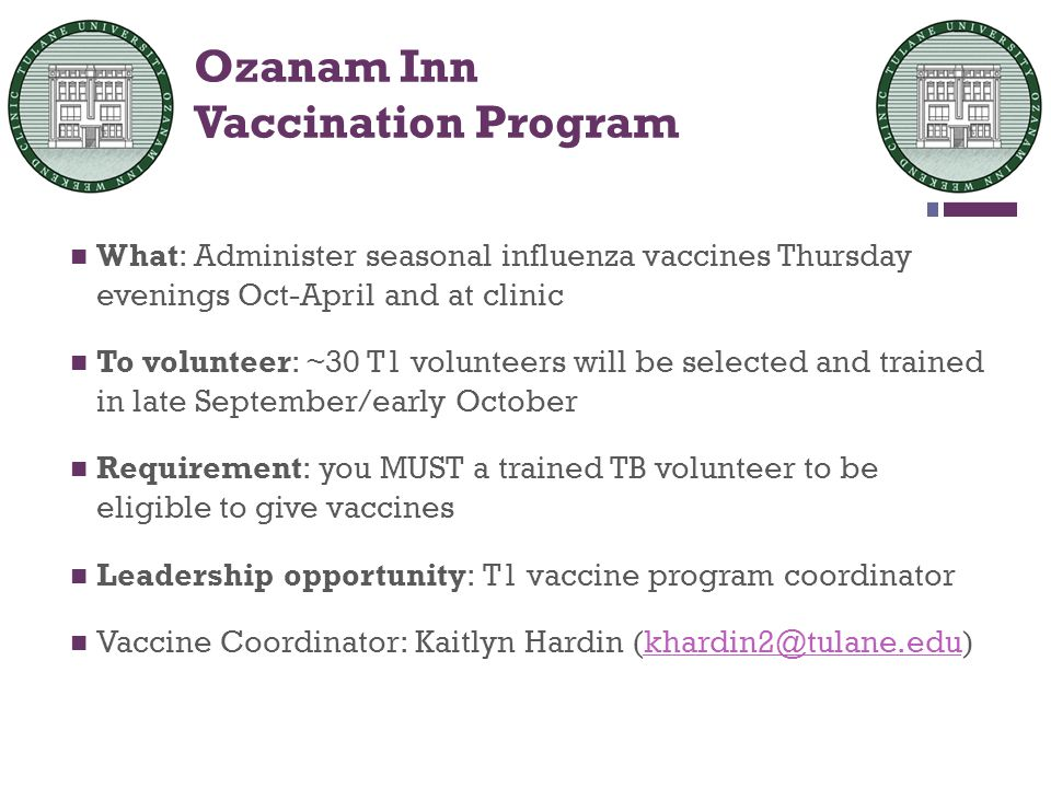 Ozanam Inn Vaccination Program