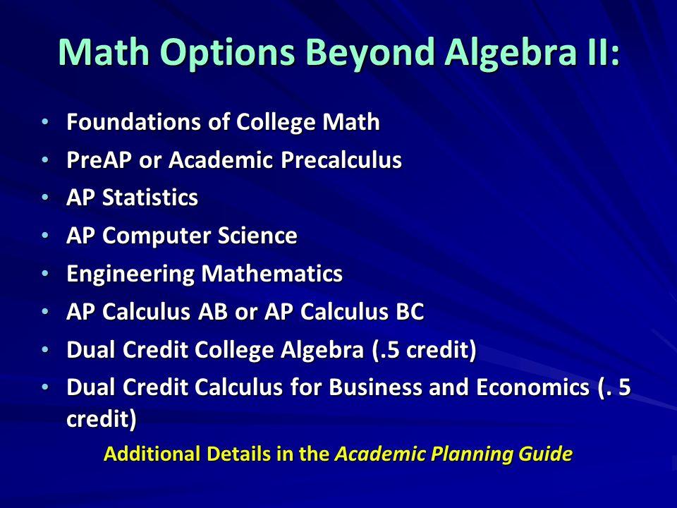 Math Options Beyond Algebra II: