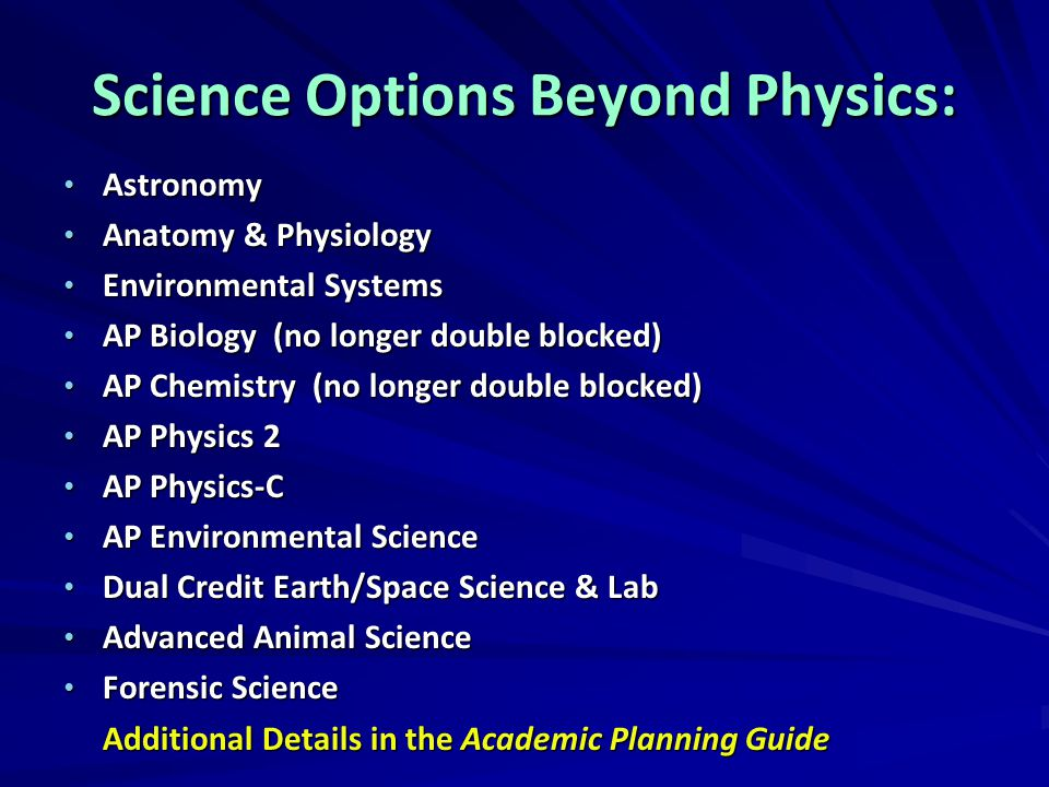 Science Options Beyond Physics: