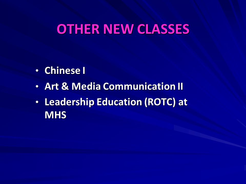 OTHER NEW CLASSES Chinese I Art & Media Communication II
