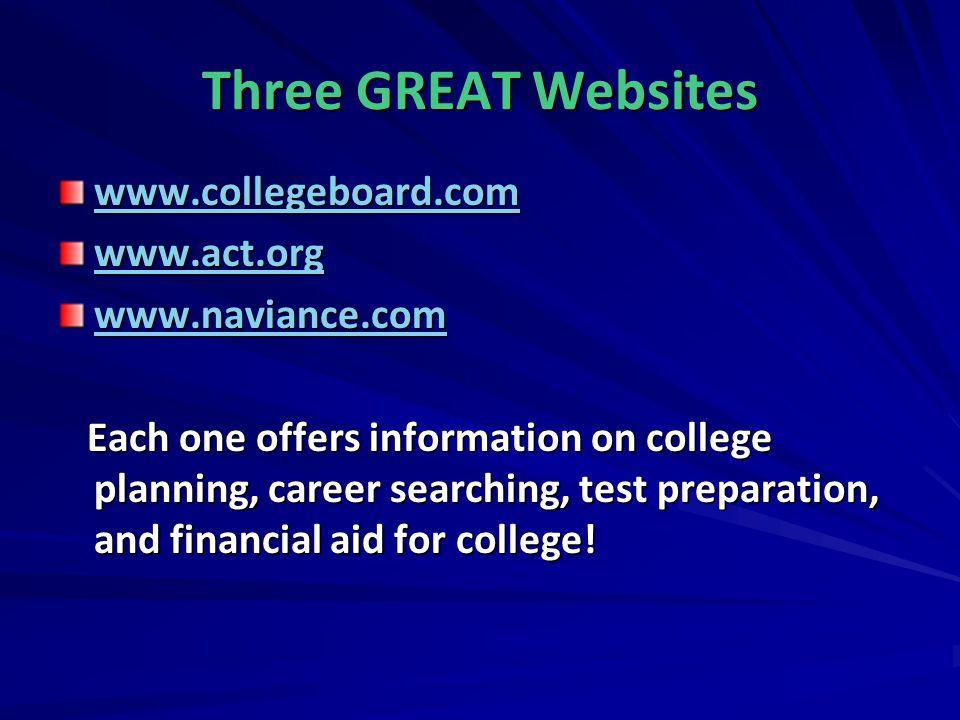 Three GREAT Websites www.collegeboard.com www.act.org www.naviance.com