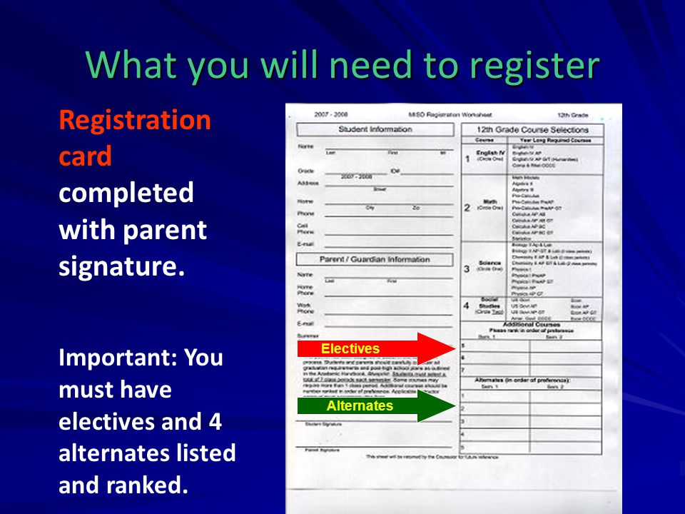 What you will need to register